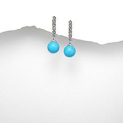Boucles d'Oreilles en Argent Turquoise 8mm Bleu