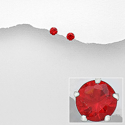 Clous d'Oreilles 4mm en Argent et Diamant CZ Rouge
