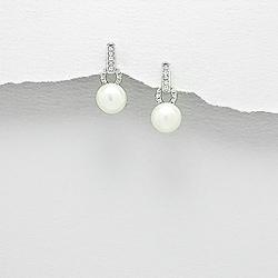Boucles d'Oreilles Perle d'Eau Douce et Diamant CZ