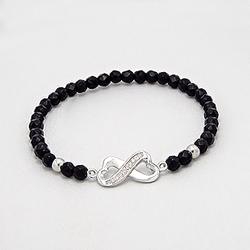 Bracelet en Argent Coeur Infini et Onyx Noire