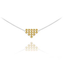 Collier Diamond Mesh Chaîne Double en Argent et Cristal Champagne