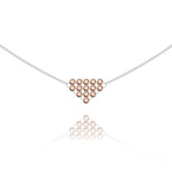 Collier Diamond Mesh Chaîne Double en Argent et Cristal Rose Gold