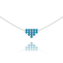 Collier Diamond Mesh Chaîne Double en Argent et Cristal Metallic Blue