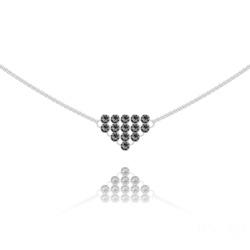 Collier Diamond Mesh Chaîne Double en Argent et Cristal Silver Night
