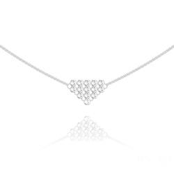 Collier Diamond Mesh Chaîne Double en Argent et Cristal Blanc