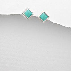Clous d'Oreilles 7mm en Argent et Turquoise