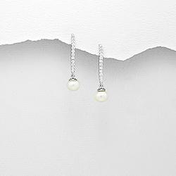 Boucles d'Oreilles Perle d'Eau Douce 6mm et Diamant CZ
