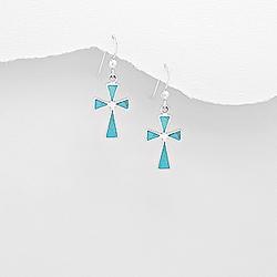 Boucles d'Oreilles Croix en Argent et Turquoise