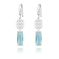 Boucles d'Oreilles Queen Baguette V2 en Argent et Cristal Bleu