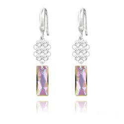 Boucles d'Oreilles Queen Baguette V2 en Argent et Cristal Paradise Shine
