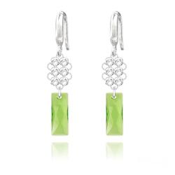 Boucles d'Oreilles Queen Baguette V2 en Argent et Cristal Vert Péridot