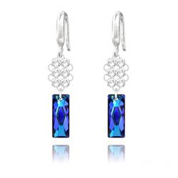 Boucles d'Oreilles Queen Baguette V2 en Argent et Cristal Bleu Bermude