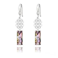 Boucles d'Oreilles Queen Baguette V2 en Argent et Cristal Vitrail Light