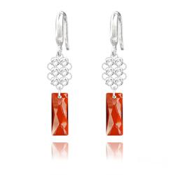 Boucles d'Oreilles Queen Baguette V2 en Argent et Cristal Red Magma