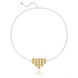 Bracelet en Cristal et Argent Bracelet Diamond Mesh Chaîne Double en Argent et Cristal Champagne