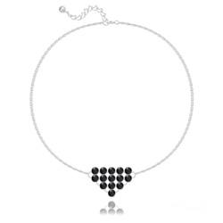 Bracelet en Cristal et Argent Bracelet Diamond Mesh Chaîne Double en Argent et Cristal Jet (Noir)
