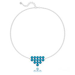 Bracelet en Cristal et Argent Bracelet Diamond Mesh Chaîne Double en Argent et Cristal Metallic Blue