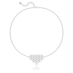 Bracelet Diamond Mesh Chaîne Double en Argent et Cristal Blanc