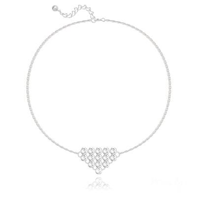 Bracelet en Cristal et Argent Bracelet Diamond Mesh Chaîne Double en Argent et Cristal Blanc