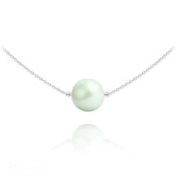 Collier Ras de Cou en Argent Perle de Cristal Nacré 10mm Pastel Green