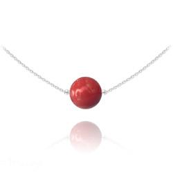 Collier Ras de Cou en Argent Perle de Cristal Nacré 10mm Red Coral