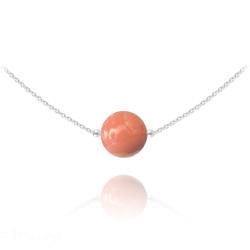 Collier Ras de Cou en Argent Perle de Cristal Nacré 10mm Coral