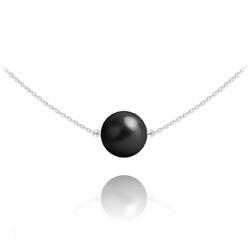 Collier Ras de Cou en Argent Perle de Cristal Nacré 10mm Noir Mystique