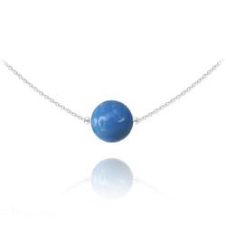 Collier Ras de Cou en Argent Perle de Cristal Nacré 10mm Lapis