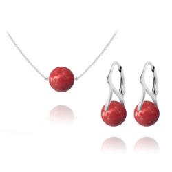 Parure Ras de Cou en Argent Perle de Cristal Nacré 10mm Red Coral
