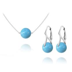 Parure Ras de Cou en Argent Perle de Cristal Nacré 10mm Turquoise
