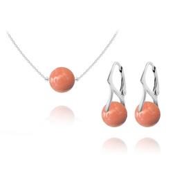Parure Ras de Cou en Argent Perle de Cristal Nacré 10mm Coral