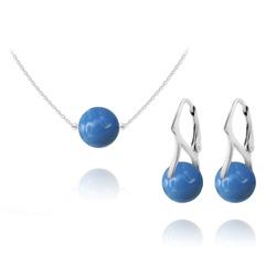 Parure Ras de Cou en Argent Perle de Cristal Nacré 10mm Lapis