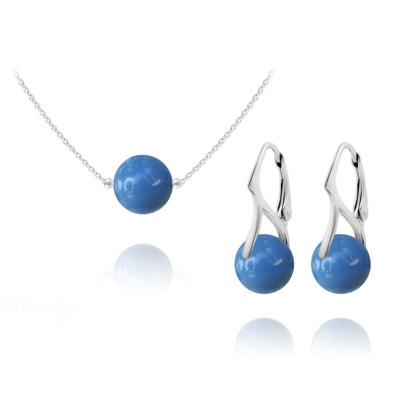 Parure en Cristal et Argent Parure Ras de Cou en Argent Perle de Cristal Nacré 10mm Lapis