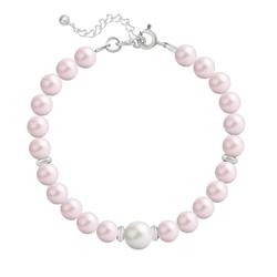 Bracelet en Argent Perle Cristal Nacré 6mm/8mm Pastel Rose