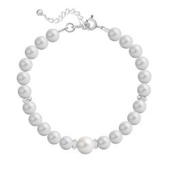 Bracelet en Argent Perle Cristal Nacré 6mm/8mm Pastel Grey