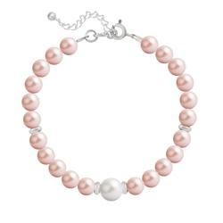 Bracelet en Argent Perle Cristal Nacré 6mm/8mm Rose Peach