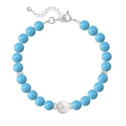 Bracelet en Argent Perle Cristal Nacré 6mm/8mm Turquoise