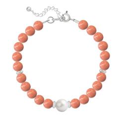Bracelet en Argent Perle Cristal Nacré 6mm/8mm Coral