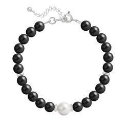 Bracelet en Cristal et Argent Bracelet en Argent Perle Cristal Nacré 6mm/8mm Mystic Black