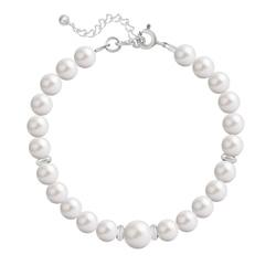 Bracelet en Cristal et Argent Bracelet en Argent Perle Cristal Nacré 6mm/8mm White Pearl