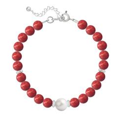 Bracelet en Argent Perle Cristal Nacré 6mm/8mm Red Coral