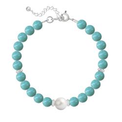 Bracelet en Argent Perle Cristal Nacré 6mm/8mm Jade