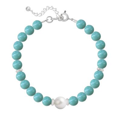 Bracelet en Cristal et Argent Bracelet en Argent Perle Cristal Nacré 6mm/8mm Jade