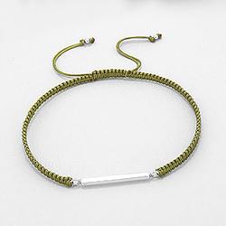 Bracelet Design en Argent - Vert Olive