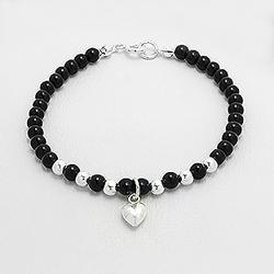 Bracelet Coeur en Argent et Onyx
