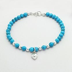 Bracelet Coeur en Argent et Turquoise