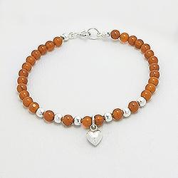 Bracelet Coeur en Argent et Agate