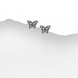 Clous d'Oreilles Papillon en Argent et Marcassite