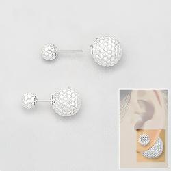 Boucles d'Oreilles 2 Perles d'Argent