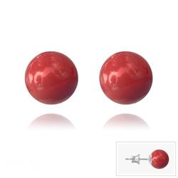 Clous d'Oreilles en Argent Perle de Cristal Nacré 8MM Red Coral